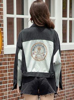 Color-blocked Hot Drilling Denim Jacket