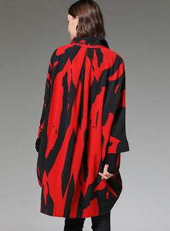 Plus Size Lapel Gradient Loose Coat