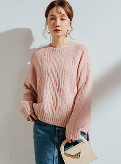 O-neck Loose Slit Pullover Sweater