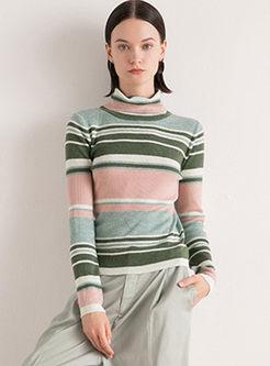 Turtleneck Long Sleeve Slim Striped Sweater