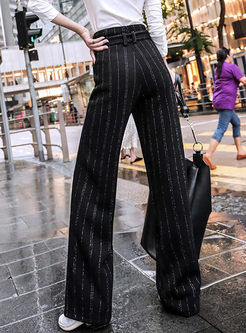 High Waisted Striped Corduroy Straight Pants