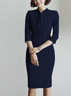 Elegant Solid Color Sashes Midi Dresses