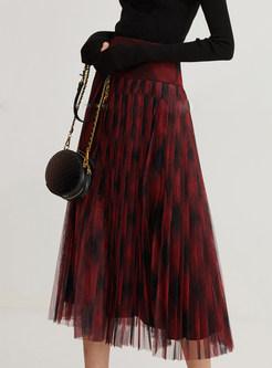 Elastic Waist Plaid Patchwork Mesh Skirt