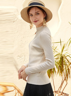 White Half Collar Irregular Slim Sweater