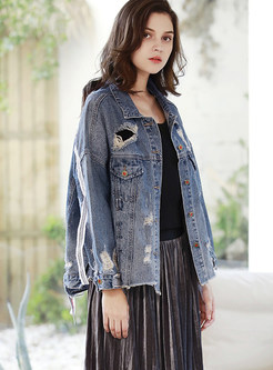 Lapel Tassel Ribbed Denim Coat