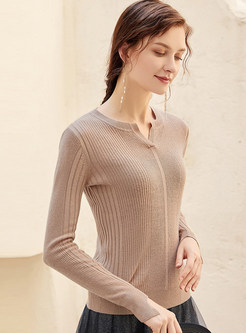 Solid Color V-neck Long Sleeve Slim Sweater