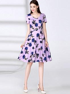 V-neck Short Sleeve Print Skater Dress