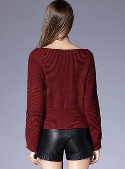 Slash Neck Drawstring Pullover Sweater