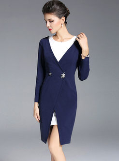 Color-blocked O-neck Long Sleeve Bodycon Dress