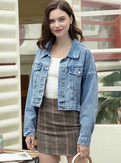 Brief Lapel Loose Short Denim Jacket