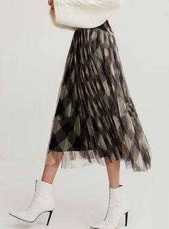 High Waist Geometric Graphic Mesh Skirt