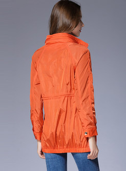 Casual Orange Stand Collar Slim Coat