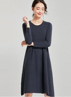 Solid Color Irregular Waist Knit Dress