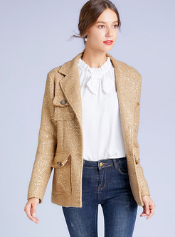 Gold Lapel Sequin Slim Blazer