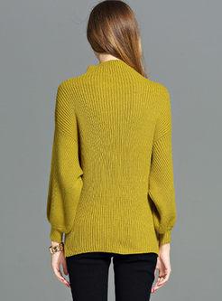 Half Turtleneck Bat Sleeve Oversize Sweater