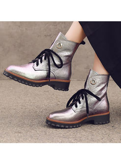 Stylish Platform Leather Short Boots