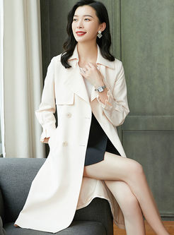Lapel Long Sleeve A Line Trench Coat