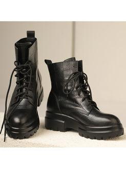 Black Round Head Platform Short Boots
