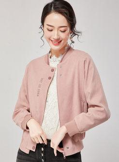 Casual V-neck Letter Print Short Jacket