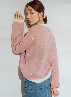 Sweet Pink Dot Transparent Sweater