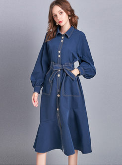 Turn Down Collar Lantern Sleeve Denim Dress