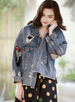 Lapel Hole Embroidered Denim Jacket