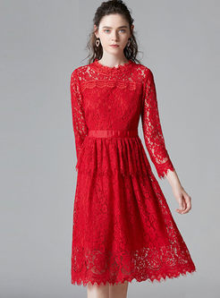 Red Lace Openwork Wedding Plus Size Dress