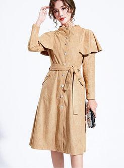 Standing Collar Falbala Waist Trench Coat