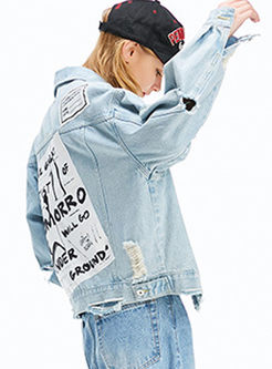 Lapel Long Sleeve Hole Denim Coat