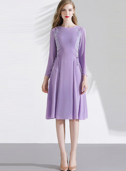 O-neck Patchwork Lace Tie Waist Skater Dress