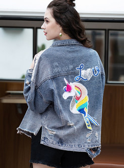 Lapel Round Selvedge Rivet Embroidered Denim Coat