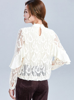 Stand Collar Lace Openwork Falbala Blouse