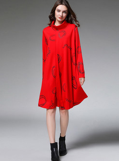 Casual High Collar Print Loose Shift Dress