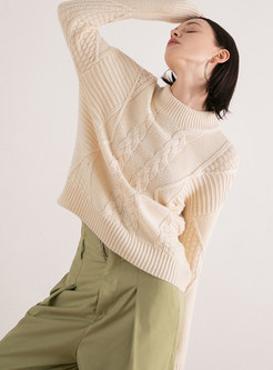 Solid Color Stand Collar Pullover Sweater