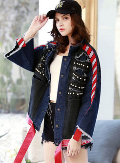 Lapel Loose Embroidered Denim Coat