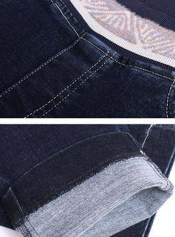 Elastic Waist Patchwork Pencil Denim Pants