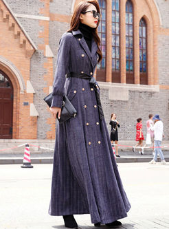 Lapel Plaid Double-breasted Long Trench Coat