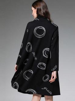 Black High Collar Print Loose Shift Dress