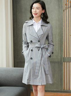 Turn Down Collar Houndstooth Slim Trench Coat