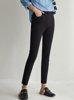 Black High Waist Slim Pencil Pants