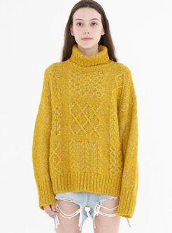 Turtleneck Solid Color Loose Sweater