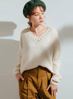 V-neck Openwork Loose Pullover Sweater