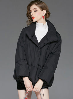 Black Stand Collar Loose Goose Bubble Coat
