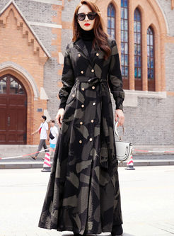 Turn Down Collar Print A Line Trench Coat