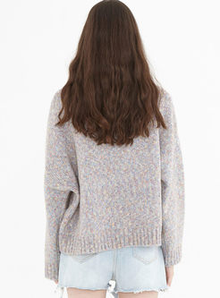 Color-blocked Turtleneck Loose Sweater