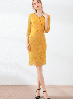 Patchwork Color-blocked Lace Openwork Bodycon Dress
