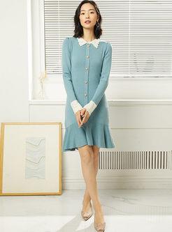 Turn Down Collar Long Sleeve Sweater Dress