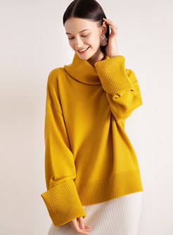 High Collar Loose Pullover Sweater