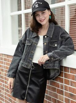 Lapel Long Sleeve Short Denim Coat
