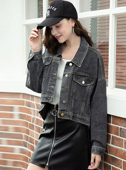 Lapel Long Sleeve Short Denim Coat